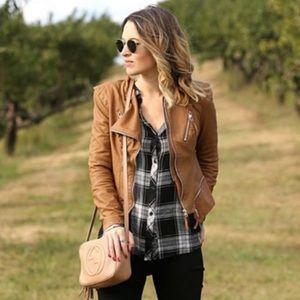 BlankNYC Faux Brown Leather Jacket XS